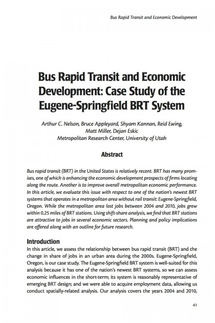 Bus Rapid Transit and Economic Development: Case Study of the Eugene-Springfield BRT System