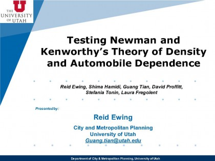 Testing the Theories of Newman and Kenworthy